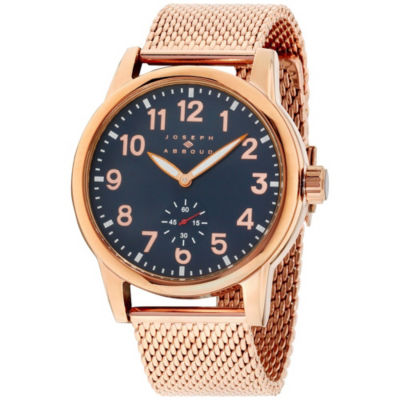 Joseph Abboud Mens Rose Goldtone Strap Watch-Ja3193rg648-Rgn