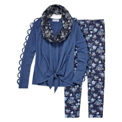 Knit Works Open Sleeve Legging Set with Scarf - Girls' 4-16 & Plus