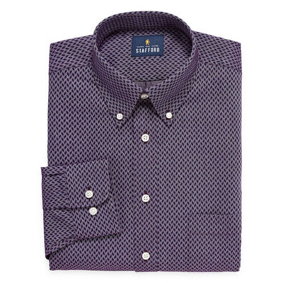 Stafford Travel Wrinkle-Free Stretch Oxford Big and Tall Long-Sleeve Dress Shirt