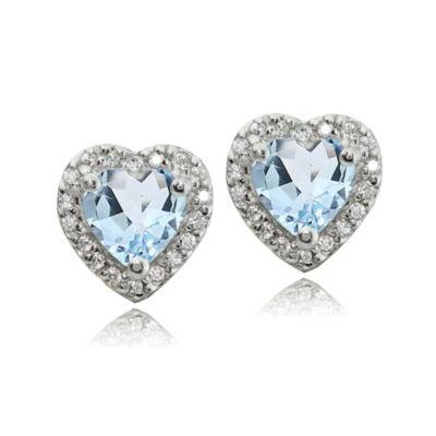 Blue Topaz Sterling Silver 10mm Heart Stud Earrings