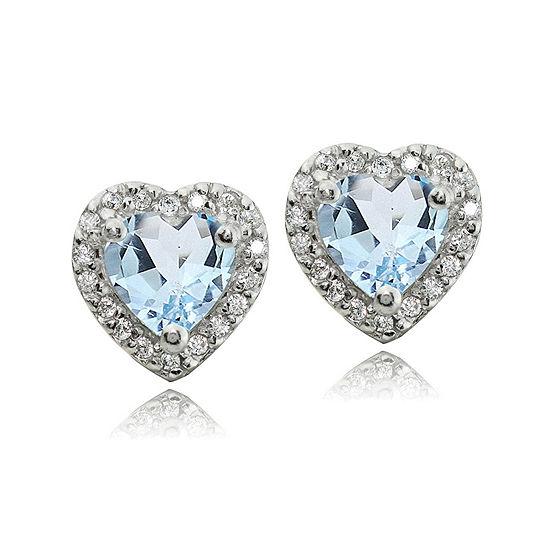 Genuine Blue Topaz Sterling Silver 10mm Heart Stud Earrings