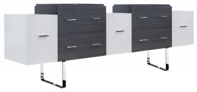 88.5-in. W 18-in. D Modern Plywood-Melamine VanityBase Set Only In White-Dawn Grey