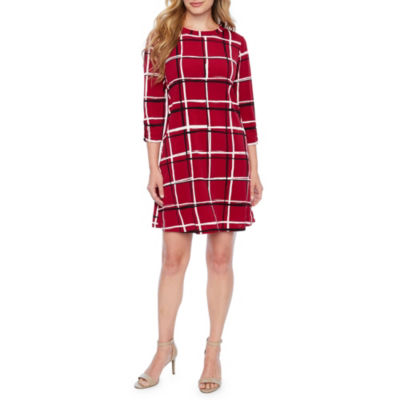 Alyx 3/4 Sleeve Windowpane Shift Dress-Petite