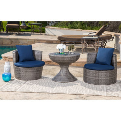 Normanni Outdoor Wicker 3 Piece Patio Seating Set