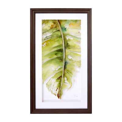 New View Palm Leaves Printed Glass Canvas Art