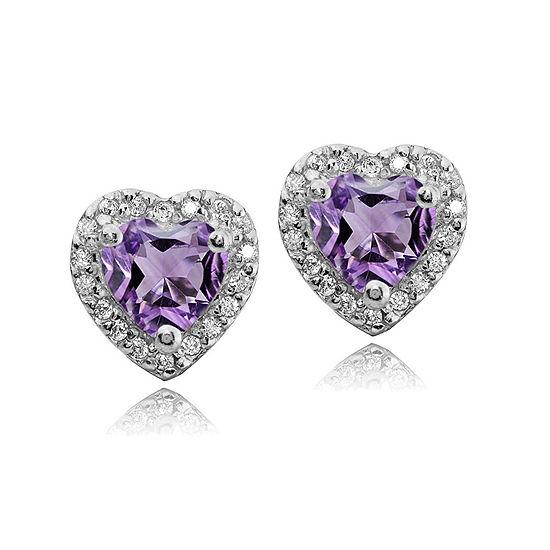 Genuine Purple Amethyst Sterling Silver 10mm Heart Stud Earrings