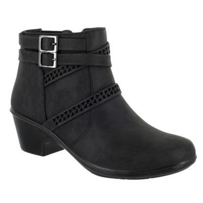 Easy Street Womens Denise Block Heel Zip Booties