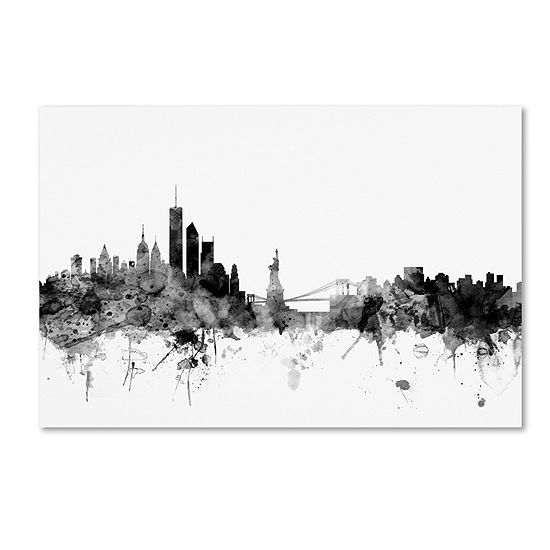 Trademark Fine Art Michael Tompsett New York Skyline B&W Giclee Canvas Art
