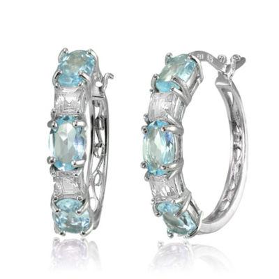 Blue Topaz Sterling Silver 21mm Hoop Earrings
