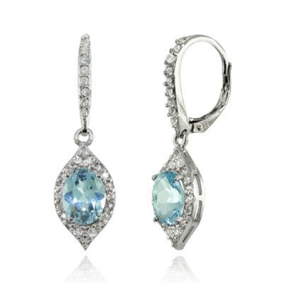 Blue Topaz Sterling Silver Oval Drop Earrings