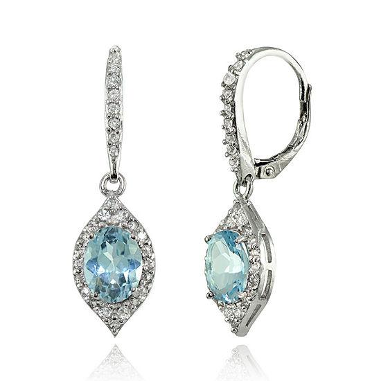 Genuine Blue Topaz Sterling Silver Oval Drop Earrings