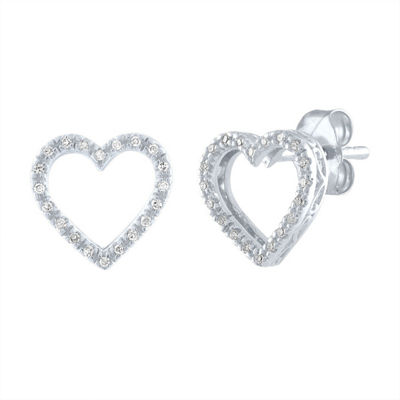 Diamond Accent Genuine White Diamond Sterling Silver 9mm Heart Stud Earrings