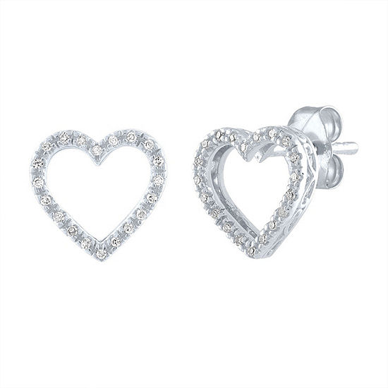 """To The Moon & Back"" Diamond Accent Genuine White Diamond Sterling Silver 9mm Heart Stud Earrings"