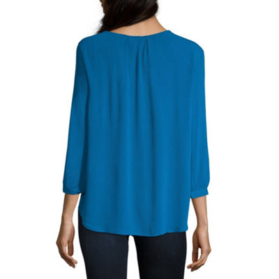 Liz Claiborne Womens Split Crew Neck 3/4 Sleeve Knit Blouse