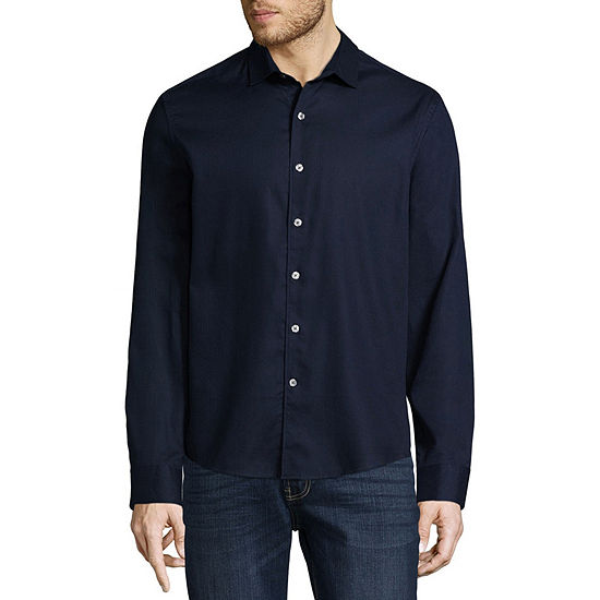 Claiborne Mens No Tuck Long Sleeve Textured Slim Fit Button-Front Shirt