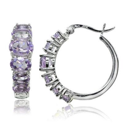 Genuine Purple Amethyst Sterling Silver 22mm Hoop Earrings