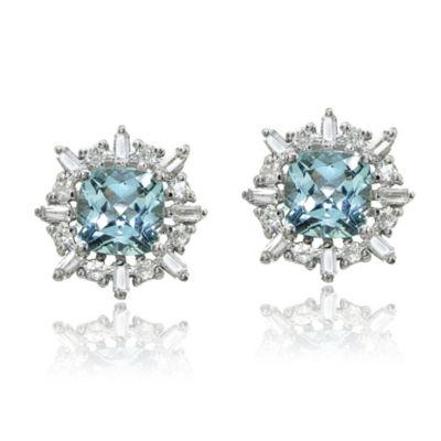 Blue Topaz Sterling Silver 12mm Square Stud Earrings