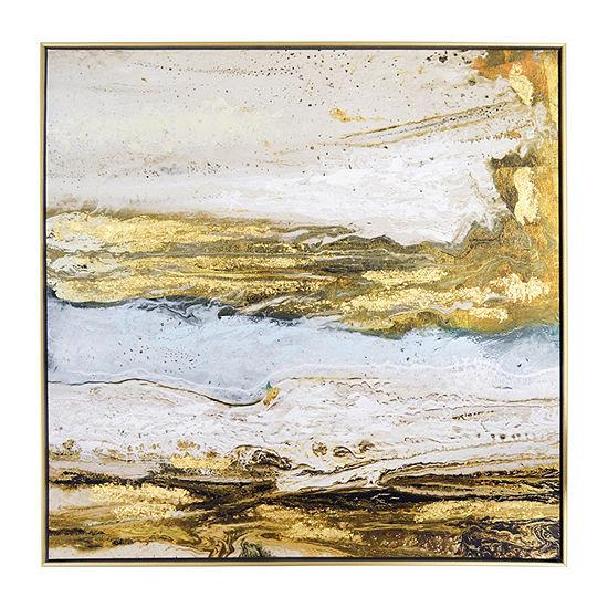 New View Melted Sand Framed Embellished Canvas Canvas Art