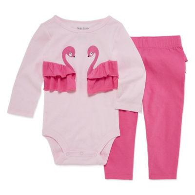 Okie Dokie Flamingo Ruffle Long Sleeve Bodysuit and Pant Set - Baby Girl NB-24M