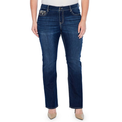 Star Stitch Peacock Embroidered Pockets Bootcut Jeans - Plus