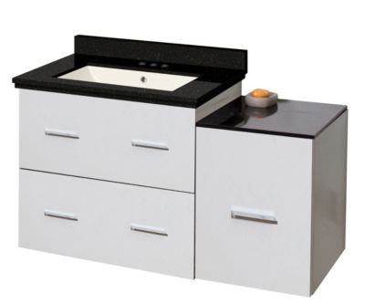 37.75-in. W Wall Mount White Vanity Set For 3H4-in. Drilling Black Galaxy Top Biscuit UM Sink