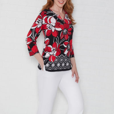 Alfred Dunner Barcelona 3/4 Sleeve Round Neck Floral T-Shirt-Womens