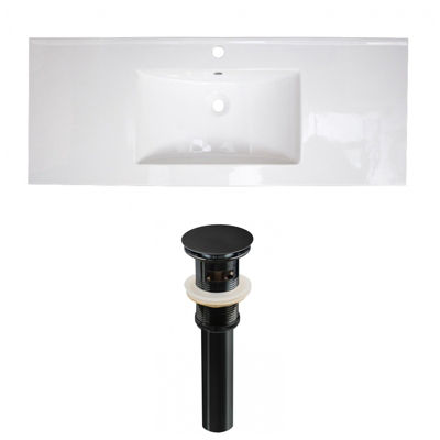 39.75-in. W 1 Hole Ceramic Top Set In White Color- Overflow Drain Incl.