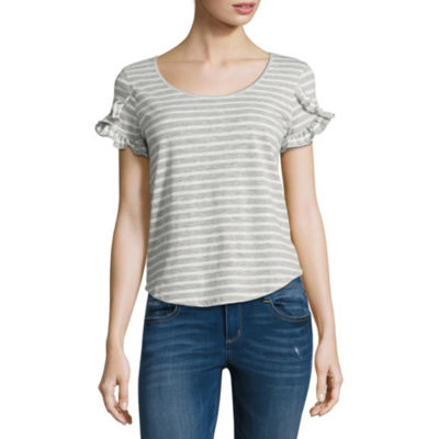 Derek Heart Short Sleeve Round Neck Stripe T-Shirt-Womens Juniors