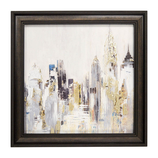 New View Metallic City Scape Printed Glass Canvas Art
