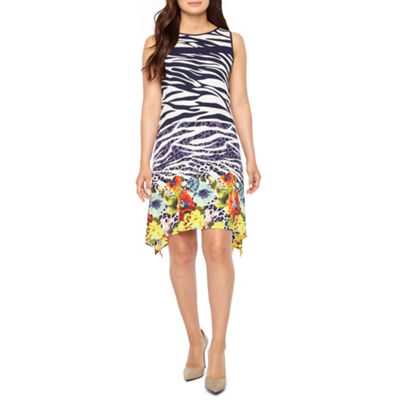 Robbie Bee Sleeveless Animal Floral Print A-Line Dress