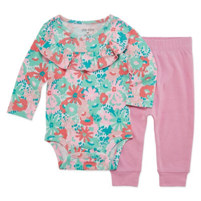Okie Dokie Floral Ruffle Long Sleeve Bodysuit and Pant Set - Baby Girl NB-24M