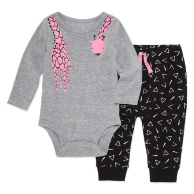 Okie Dokie Giraffe Long Sleeve Bodysuit and Pant Set - Baby Girl NB-24M