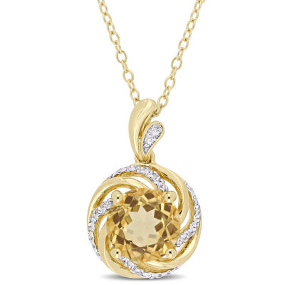 Womens Diamond Accent Genuine Yellow Citrine 18K Gold Over Silver Pendant Necklace