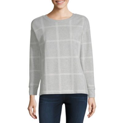 Liz Claiborne Womens Crew Neck Long Sleeve Sweatshirt