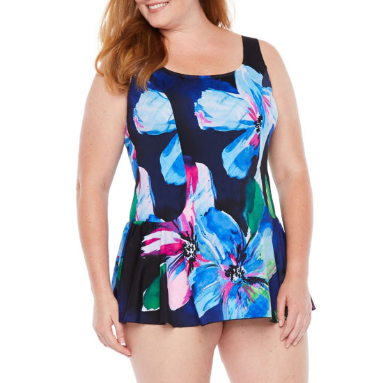Azul by Maxine of Hollywood Pattern Swim Dress Plus