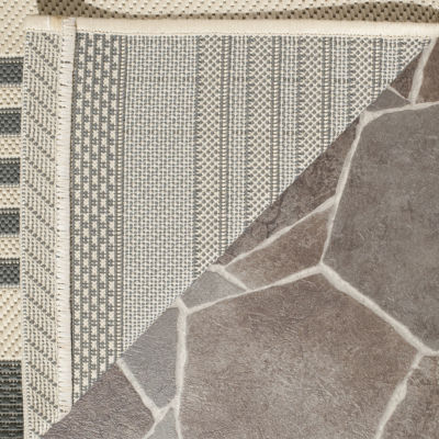Safavieh Courtyard Collection Santos Stripe Indoor/Outdoor Runner Rug