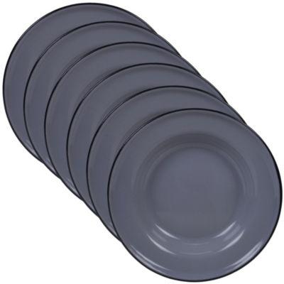 Certified International Enamelware Grey 6-pc. Dessert Plate