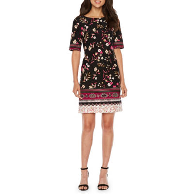 R & K Originals Short Sleeve Floral Sheath Dress