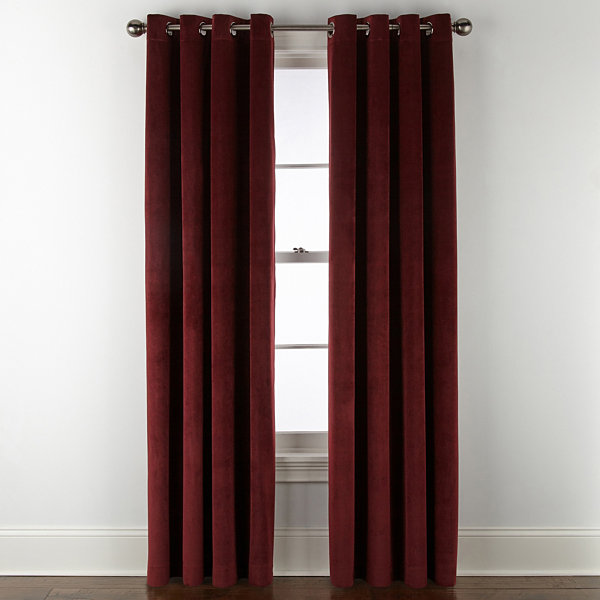 Liz Claiborne Holland Velvet Blackout Grommet- Top Curtain Panel
