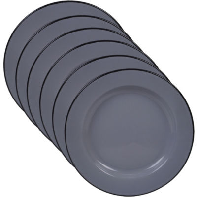 Certified International Enamelware Grey 6-pc. Dinner Plate