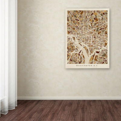 Trademark Fine Art Michael Tompsett Washington DCStreet Map 3 Giclee Canvas Art