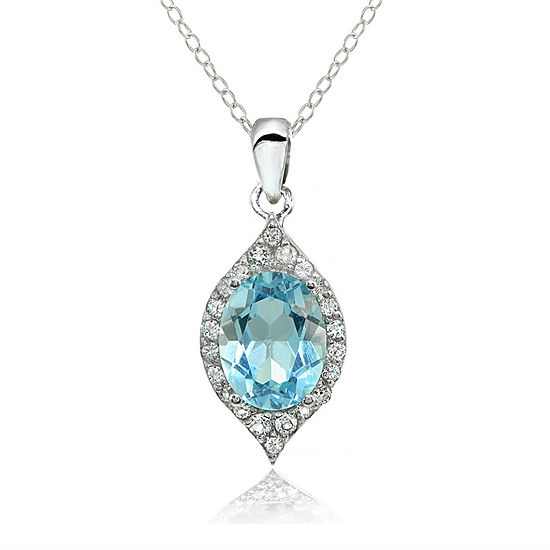 Womens Genuine Blue Topaz Sterling Silver Pendant Necklace