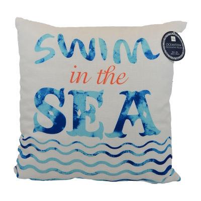 Swim In The Sea Square Throw Pillow