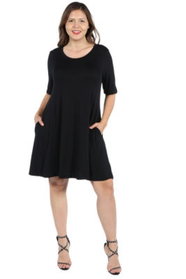 24Seven Comfort Apparel Pocket Mini Dress - Plus