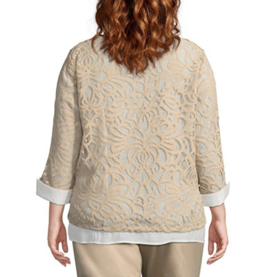 Alfred Dunner Scottsdale Lace Layered Blouse - Plus