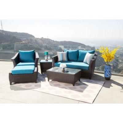 Brooklyn Sunbrella Blue Outdoor Wicker 5 Piece Patio Seating Set