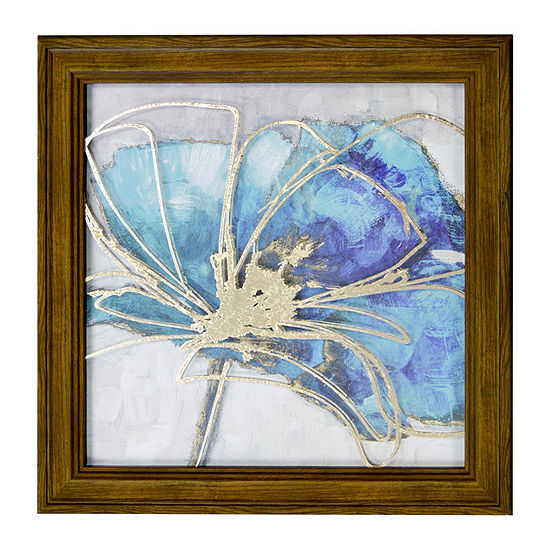 New View Teal Floral 1 Metallic Printed Glass Canvas Art