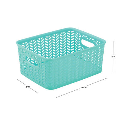 Herringbone Storage Tote - Mint- Small 10X8X4