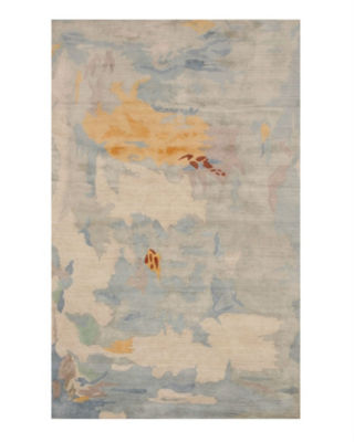 Hand-Tufted Viscose Blue Contemporary Abstract Palermo Rug