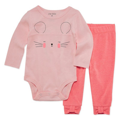 Okie Dokie Pink Mouse Long Sleeve Bodysuit and Pant Set - Baby Girl NB-24M